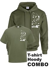 CARP FISHING CLOTHING, HOODY / T-SHIRT COMBO. (LEAPING CARP IN OLIVE GREEN).