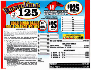 Seal Card 400ct 3lgW $1.00 DOWNLINE 125 Bingo pull tab ($125)