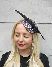 98901c202e141 Leopard Animal Print Black Feather Fascinator Rockabilly Headpiece Races  2319