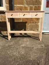 H80 W100 D20cm BESPOKE CONSOLE HALL TELEPHONE TABLE 3 DRAWER OAK TOP