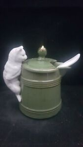 MINT VICTORIAN GERMAN LIKE PIG FAIRING BUT MORE RARE COFFEE JUG & CAT ON SIDE