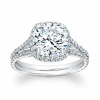 CERTIFIED 4.50 CT GENUINE REAL D/SI1 DIAMOND HALO ENGAGEMENT RING 14K WHITE GOLD