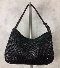 Sisley Black Cross Cross  Leather Bag Purse Tote Braided Handle