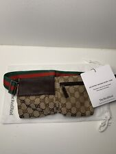 Authentic Gucci Brown GG Canvas Waist Belt Bum Bag Fanny Pack Shelly Line