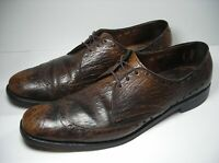 Vtg Allen Edmonds Mens Sz 13 AAA Wingtip Sharkskin Brown Dress Shoes PLS READ