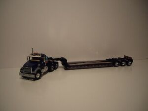 FIRST GEAR 1/50 BLUE MACK GRANITE MP DAY CAB WITH BLACK TALBERT TRI-AXLE LOWBOY
