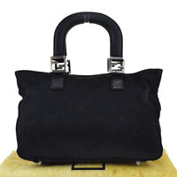 Authentic FENDI FF Logos Tote Hand Bag Canvas Leather Black Silver Italy 68BS288