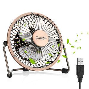 Mini USB Personal Desk Fan - 4'' & Metal & Retro & Quiet & Portable & Free Angle