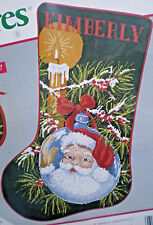 "Needle Treasures Santa ""Reflections Of Christmas Stocking"" Needlepoint Kit"