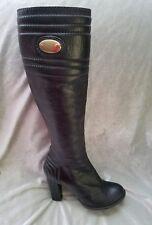 Chloe sz 35.5 / 5.5 Black Leather Side ZIP Round Toe High Heel Knee Boots