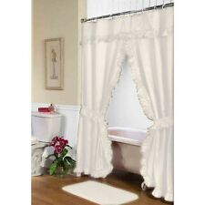 Carnation Home Fashions Lauren Double Swag Shower Curtain, Ivory Fscd-L/08 New