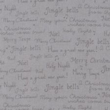 Fabric Christmas Time Song Words on Grey Cotton by the 1/4 yard
