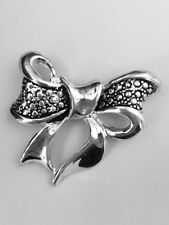 Ribbon Valentines Day Gifts Free Shipping Bow Brooch Lapel Pin Silver Plated