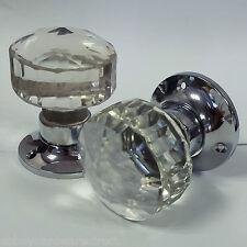 Faceted Glass Mortice Door Knobs 1 Pair  60 mm Chrome Plated Rose - Door handles