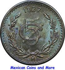 Mexico 5 Centavos Mo 1927, Uncirculated. Attractive.