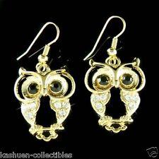 Big w Swarovski Crytal Gold PL ~Wise Smart Owl~ Wisdom Teacher Pendant Earrings