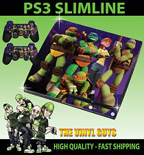 PLAYSTATION PS3 SLIM NICK TOON MUTANT NINJA TURTLE  STICKER SKIN & 2 PAD SKINS