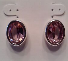 Vintage Signed MONET Jewelry Pierced Earrings Silver Plated & Pink Crystal