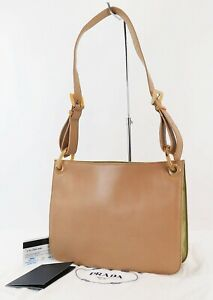 Authentic PRADA Beige Leather and Green Nylon Tote Shoulder Bag Purse #39381