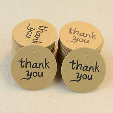 "100pcs Kraft Paper Hang Tags Wedding Party Favor Label ""thank you"" Gifts Cards"