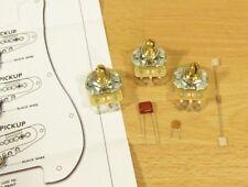 Fender Vintage Noiseless Strat Pickups Pots Caps Dia Wiring Kit 1 meg 500k CTS