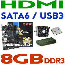 AMD A8-6500 FM2 CPU/APU+8GB DDR3 RAM+MSI A68HM-E33 SATA USB3 HDMI Motherboard
