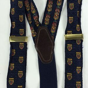 Navy Blue Silk Woven Crest Pattern Supenders Leather Fitting Brass Slides