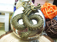 Antique Bronze Dragon bright silver charm steampunk pocket watch necklace.