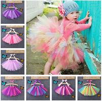 USA Girls Kids Bow Tutu Party Ballet Dance Wear Dress Skirt Pettiskirt Costume