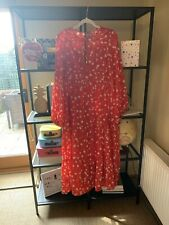 Asos Red/White Floral Long Dress Size 12