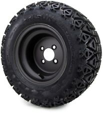 10 Flat Black Steel Golf Cart Wheels Amp All Terrain Tires 20x10 Set Of Four