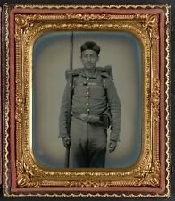 Photo Civil War Union Solder Ohio Volunteer Military Uniform Bedroll and Musket