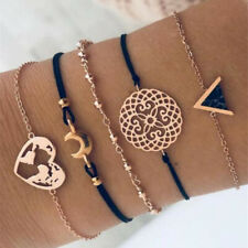 5Pcs Fashion Women Boho Heart Hollow Map Moon Beads Bracelet Bangle Jewelry Set