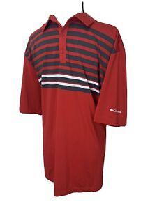COLUMBIA GOLF Mens Size XXL 2XL Red Black Striped Polo Shirt Stretch Lightweight