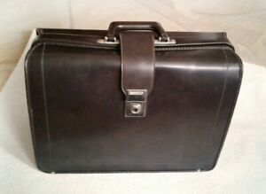 Vintage Large Travel Weekender Mens Doctors bag Portfolio Brown faux leather