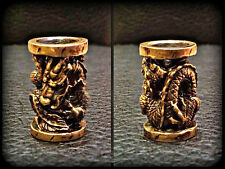 * DRAGON * UNIQUE HANDMADE Bronze Paracord Knife Leather Lanyard Bead / Beads