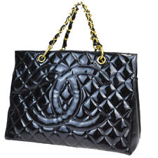 Auth CHANEL CC GST Quilted Chain Hand Bag Patent Leather Black Vintage 73BP148