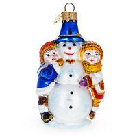 Kids Making Snowman Glass Christmas Ornament
