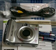 Canon PowerShot A550 7.1MP Digital Camera - Silver A/V Cable Manuals Tested Good