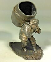 RARE JAMES W TUFTS PLATED FIGURAL MAN CARRYING BARREL TOOTHPICK/Match  HOLDER