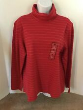 BASIC EDITIONS Women's Red and Gold Glitter Stripes Holiday Turtleneck Size XL
