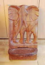 Vintage Oak Wood Carved Elephant children chair or display stand