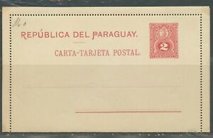 PARAGUAY 2C RED UPU MINT POSTAL STATIONERY LETTERCARD AS SHOWN
