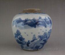 Chinese Old Blue and White landscape design Porcelain Jar tank Pot