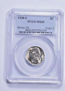 RARE - Graded MS65 1938-S Jefferson Nickel - Graded By PCGS *384