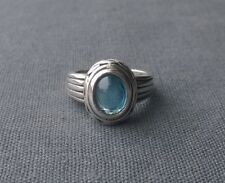 SOLID 925 STERLING SILVER LONDON BLUE TOPAZ OVAL CABOCHON RING M