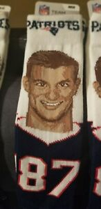 Official NFL Football New England Patriots Rob Gronkowski Selfie Socks Medium