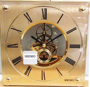 SEIKO  SKELETON GOLDTONE METAL/GLASS TABLE CLOCK QHG036GLH