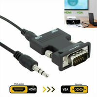 HDMI Female To VGA Male Adapter Converter W/ Audio Cable Support 1080P Output UK