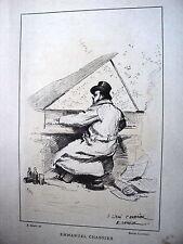 PLANCHE 19 EME PAR E. DETAILLE EMMANUEL CHABRIER JOUANT DU PIANO